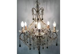 vintage murano glass crystal beaded macaroni chandelier