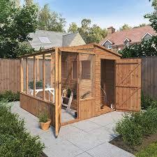 8 x 8 shiplap combi greenhouse wooden