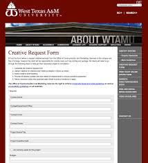 Graphic Design Project Request Form West Texas A M University Graphic Standard New
