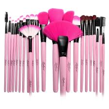 zodaca pink professional beauty makeup brushes tool set with carrying pouch bag set of 24