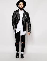 lyst asos asymmetric leather biker jacket in black for men