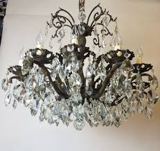 12 arm aged brass crystal chandelier rewired c 1900 3 of 11