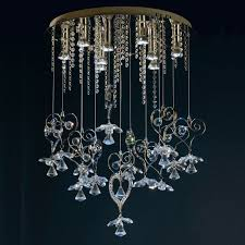 contemporary chrome with clear blue glass chandelier