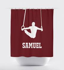 burgundy shower curtain sets. boys shower curtain male gymnast gymnastics rings gift for athlete shop wunderkinds burgundy and white sets t