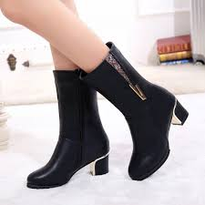 genuine leather shoes women combat boots thick high heel martin boots zipper las work shoes motorcycle boots