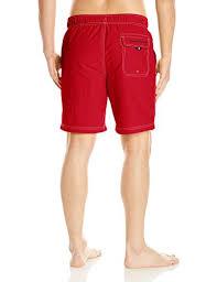 Nautica Mens Standard Solid Quick Dry Classic Logo Swim Trunk Red Medium