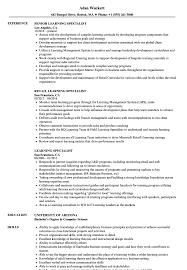 Training Specialist Resume Learning Specialist Resume Samples Velvet Jobs