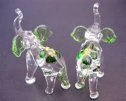 2 tiny glass elephants green ears tail flower glass animal miniature ornaments