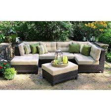 hillborough 4 piece all weather wicker patio sectional with sunbrella fabric