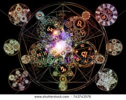 astral works astral connection series backdrop design zodiac stock illustration
