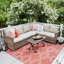 outdoor sectional.  Sectional Leisure Made Dalton 5Piece Wicker Outdoor Sectional Set With Tan Cushions And The Home Depot