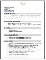 Sample Resume For Freshers Mba Finance And Marketing Resume