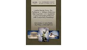 Buy Leatha Benita Sims, Etc., Petitioner, V. William Waln and Max Launder.  U.S. Supreme Court Transcript of Record with Supporting Pleadings Book  Online at Low Prices in India | Leatha Benita Sims,