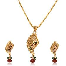 surat diamond fancy shaped gold plated pendant necklace earring set ps42