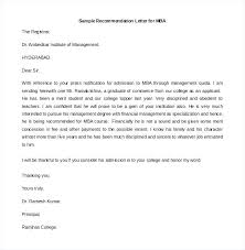 Business College Recommendation Letter To Principal For Admission Of