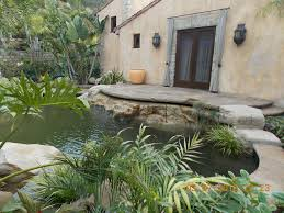 Lawn & Garden:Backyard Small Pond Design In Mediterranean Style Home Plus  Palm Tree Plants
