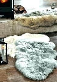 black faux fur rug 8x10 grey large sheepskin