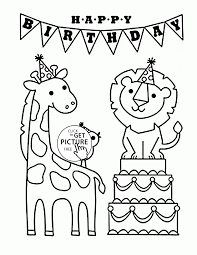 Happy Birthday And Funny Animals Coloring Page For Kids Kids