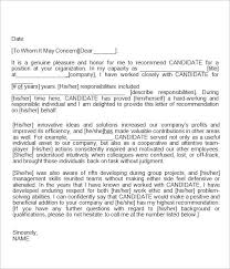 Recommendation Letter For Employment Template Professional