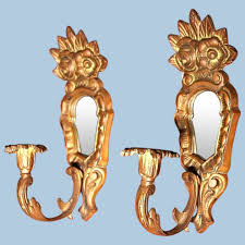 pair 2 brass bronze wall sconces candle