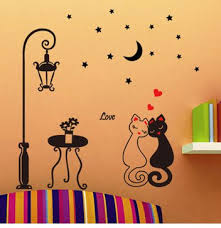 removable wall stickers of a couple of cat home decorators