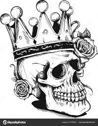 Krásné Romantické Lebka Korunou Elegantní Květinový Věnec Inkoust