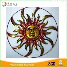 vintage copper metal sun face wall art decoration handcrafted outdoor sun