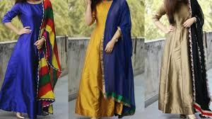 Plain Silk Salwar Kameez Designs Plain Anarkali Suit With Embroidered Dupatta Latest Silk Salwar Suit Designs Plain Suit For Festival