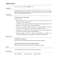 Financial Analyst Resume Resume For Your Job Application