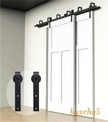 details about 4ft 16ft sliding barn door hardware kit closet rail roller set bypass two doors