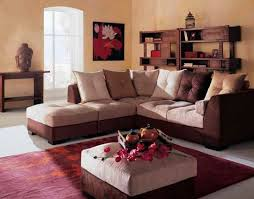 awesome living room with brown white sofa color red rug and