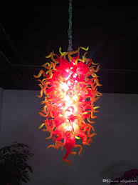 pretty yellow and red color hand blown chandelier flower shape glass pendant lamp home dec lr1298 red pendant lighting low voltage pendant lights from