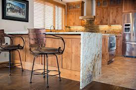 crested e granite kitchen waterfall edge countertop