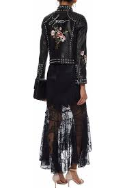 cinq À sept black imported kinu studded embroidered leather jacket women s clothing 14693524283685426 defgdpw