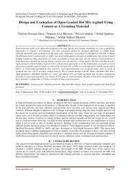 Bitumen Sand Mix Design Design And Evaluation Of Open Graded Hot Mix Asphalt Using
