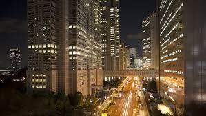 Hd0016Clouds Passing Office Buildings At Night Shinjuku Tokyo Honshu Japan