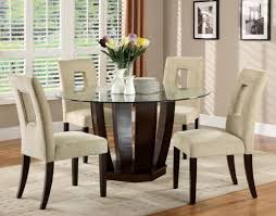 dining set 5 piece round gl table top 4 upholstered padded chairs base modern