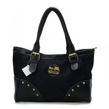Coach Stud In Signature Medium Black Satchels BUC