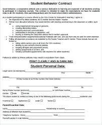 Behavior Contract Template Teacher Contract Template Behavior Contract Template Student