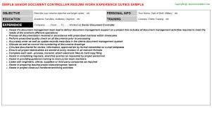 Senior Document Controller Free Career Templates Downloads Job
