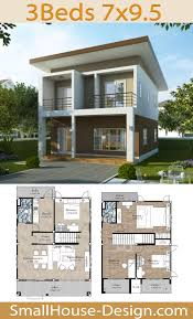 Small House Design 7x9.5 with 3 Bedrooms in 2020 | Small house design, 2  storey house design, Sims house plans