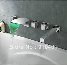 whole and retail promotion led color changing wall mounted waterfall bathroom tub faucet with hand shower