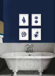 Decorating A Bathroom Wall Coastal Wall Decor Navy Blue Wall Art Set Of 4 Beach Decor