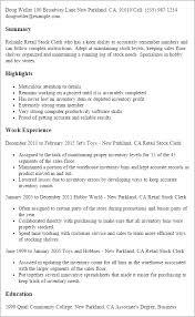 Stock Clerk Resume Sample Experience Resumes