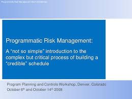 Programmatic Risk Management Workshop Handbook