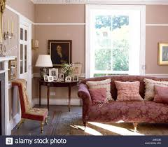 Tapestry Sofa Living Room Furniture Patterned Cushions On Red Damask Sofa In Pink Country Sitting Room