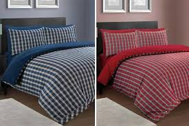 highland flannelette duvet cover set 2 colours wowcher