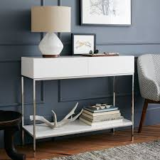 white console table with drawer. Lacquer Storage Console White Table With Drawer