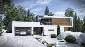 Quirky Modern Houses Exterior Full Imagas White Concrete Wall With Large  Garage Door Grey Floor