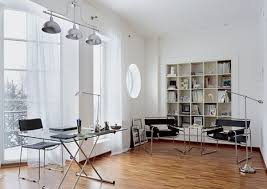 contemporary office interior. Contemporary Office Interior Design With Retro Elements, White Wall Paint And Book Shelves, Wooden Floor Light Furniture, Glass Top Desk,